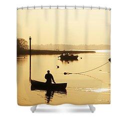 Fisherman On Lake Shower Curtain by Pixel Chimp