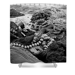 Fisherman Sleeping On A Huge Array Of Nets Shower Curtain by Tom Wurl