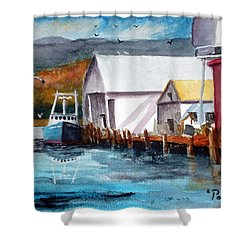 Shower Curtain featuring the painting Fishing Boat And Dock Watercolor by Chriss Pagani