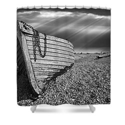 Fishing Boat Graveyard 2 Shower Curtain by Meirion Matthias