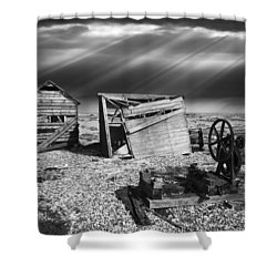 Fishing Boat Graveyard 4 Shower Curtain by Meirion Matthias