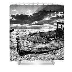 Fishing Boat Graveyard Shower Curtain by Meirion Matthias
