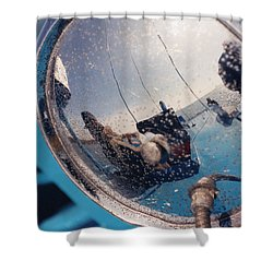 Fishing Boat Reflection Shower Curtain