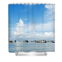 Fishing Boat Shower Curtain by Yew Kwang