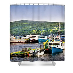 Fishing Boats In Newfoundland Shower Curtain by Elena Elisseeva