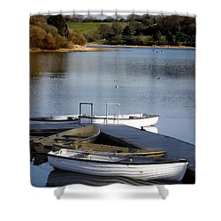 Fishing Boats Shower Curtain by Linsey Williams
