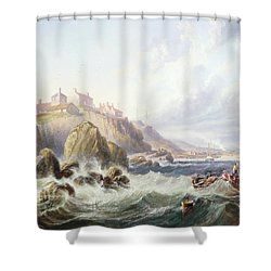 Fishing Boats Off Scotland Shower Curtain by John Wilson Carmichael