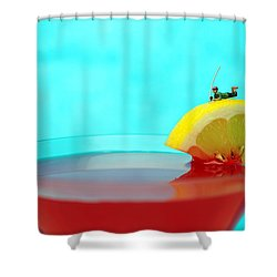 Fishing On A Piece Of Lemon Shower Curtain by Paul Ge