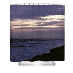 Fishing Pier Before The Storm 14a Shower Curtain by Gerry Gantt
