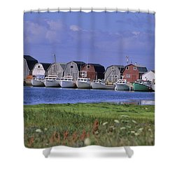 Fishing Shacks Line The Bay At Malpeque Shower Curtain by Leanna Rathkelly