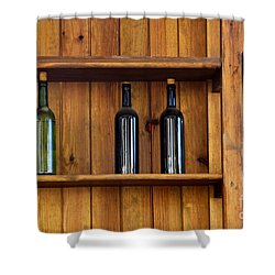 Five Bottles Shower Curtain by Carlos Caetano