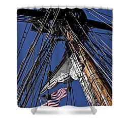 Flag In The Rigging Shower Curtain by Garry Gay