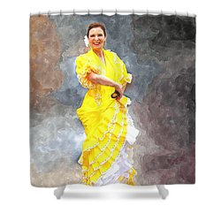 Shower Curtain featuring the photograph Flamenco Dancer In Yellow by Davandra Cribbie
