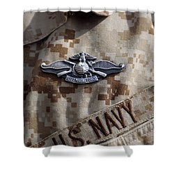 Fleet Marine Force Warfare Device Pin Shower Curtain by Stocktrek Images
