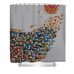 Shower Curtain featuring the painting Fleet Of Birds by Sonali Gangane