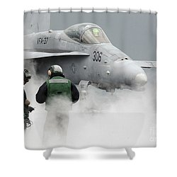 Flight Deck Personnel Are Surrounded Shower Curtain by Stocktrek Images