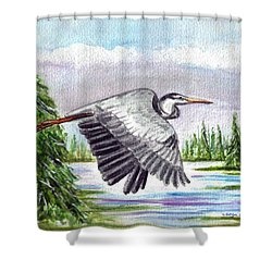 Shower Curtain featuring the painting Flight Of Fantasy by Clara Sue Beym