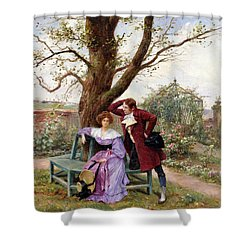Flirtation Shower Curtain by Georges Jules Auguste Cain