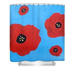 Shower Curtain featuring the painting Floating Flowers by Alys Caviness-Gober