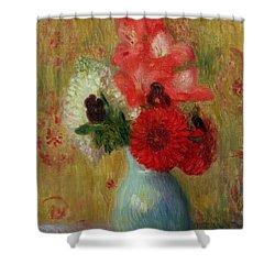 Floral Arrangement In Green Vase Shower Curtain by William James Glackens