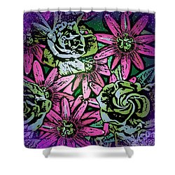Shower Curtain featuring the digital art Floral Explosion by George Pedro