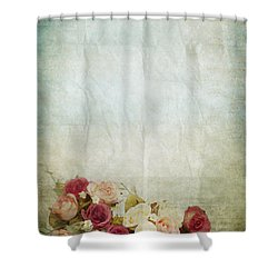 Floral Pattern On Old Paper Shower Curtain by Setsiri Silapasuwanchai