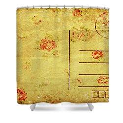Floral Pattern On Old Postcard Shower Curtain by Setsiri Silapasuwanchai