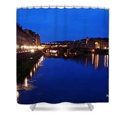 Shower Curtain featuring the photograph Florence Arno River Night by Patrick Witz