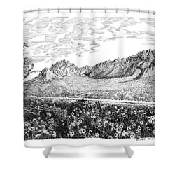 Florida Mountains And Poppies Shower Curtain by Jack Pumphrey