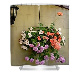 Shower Curtain featuring the photograph Flower On Wall by Katy Mei