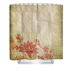 Flower Pattern On Old Paper Shower Curtain by Setsiri Silapasuwanchai