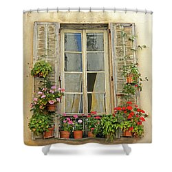 Shower Curtain featuring the photograph Flower Window Provence France by Dave Mills