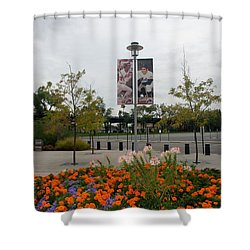 Flowers At Citi Field Shower Curtain by Rob Hans