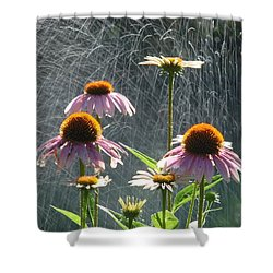 Flowers In The Rain Shower Curtain by Randy J Heath