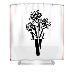 Flowers In Type Shower Curtain by Connie Fox