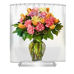 Flowers In Vase Shower Curtain by Elaine Manley