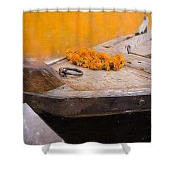 Flowers On Top Of Wooden Canoe Shower Curtain by David DuChemin