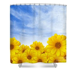 Flowers Over Sky Shower Curtain by Carlos Caetano