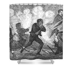 Fluid Lamp Explosion, 1868 Shower Curtain by Granger