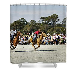 Flying At The Marsh Tacky Races Shower Curtain by Phill Doherty