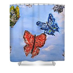Shower Curtain featuring the painting Flying by Evelina Popilian