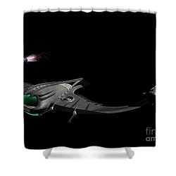 Flying Machine Inspired By The Martians Shower Curtain by Rhys Taylor