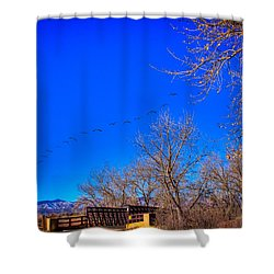 Flying Over South Platte Park Shower Curtain by David Patterson