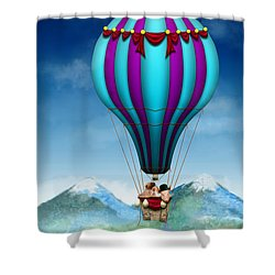 Flying Pig - Balloon - Up Up And Away Shower Curtain by Mike Savad