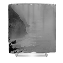 Fog And Cliffs Of The Oregon Coast Shower Curtain by Mick Anderson