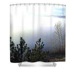 Fog On Wood Lake Shower Curtain by Will Borden