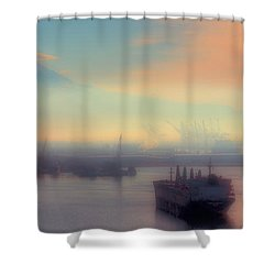Fog Over The Tide Flats Shower Curtain by David Patterson