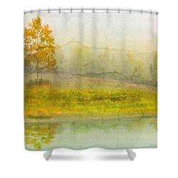 Foggy Meadow Shower Curtain by Debra and Dave Vanderlaan