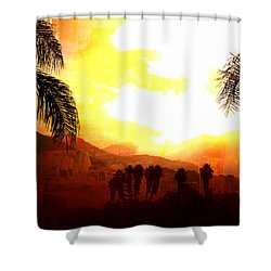 Foggy Palms Shower Curtain