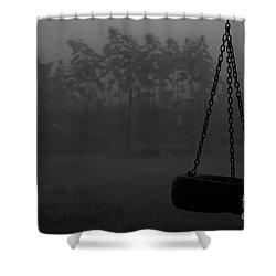Foggy Playground Shower Curtain by Cheryl Baxter